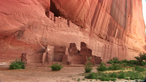 Long shot of cliff dwellings in Canyon De Chelly National... Stock Video Footage