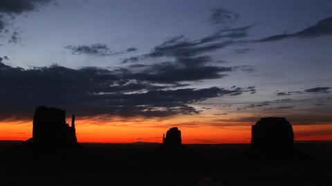 Long shot of the Mittens in Monument Valley Tribal Park,... Stock Video Footage