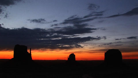 Long shot of the Mittens in Monument Valley Tribal Park, Arizona Footage