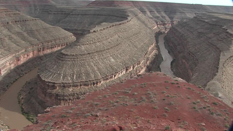 A pan across a river bend in the Southwest Stock Video Footage