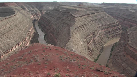 A pan across a river bend in the Southwest Footage
