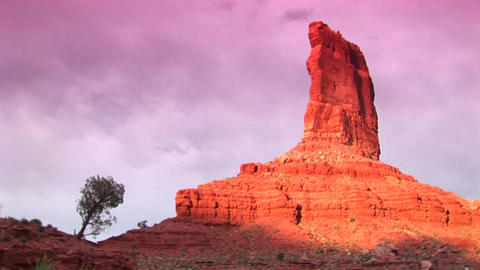 Long-shot of a sandstone formation in Valley of the Gods, Utah Footage