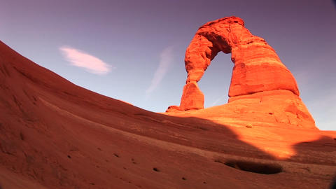 Medium shot of Delicate Arch in Arches National Park, Utah Footage
