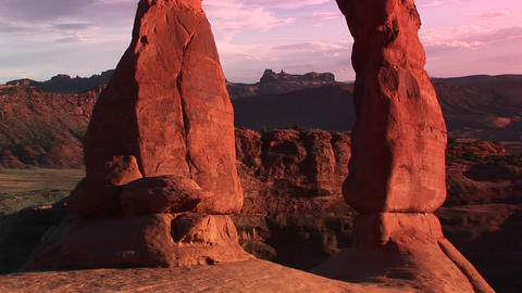 Pan-up from the base to the top of Delicate Arch in... Stock Video Footage