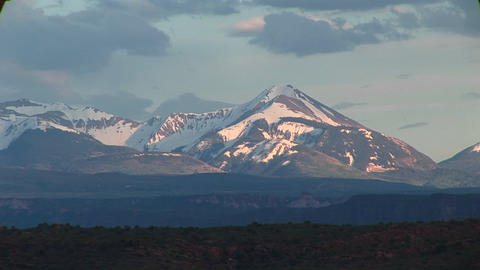 Long shot of the La Sal Mountains at golden-hour Footage