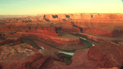 Long shot of the Colorado River snaking through... Stock Video Footage