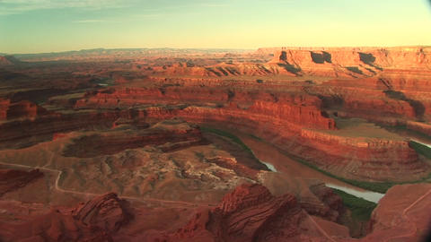 Long shot of the Colorado River snaking through Canyonlands National Park Footage