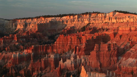 Long shot of Bryce Canyon National Park at golden-hour Stock Video Footage