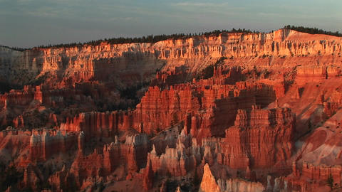 Long shot of Bryce Canyon National Park at golden-hour Footage