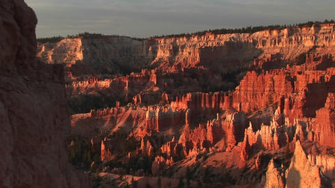 Pan-right shot of Bryce Canyon National Park in early morning Footage