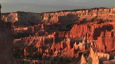 Pan-right shot of Bryce Canyon National Park in early... Stock Video Footage