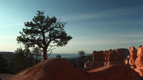 Pan-right shot of sandstone formations in Bryce Canyon... Stock Video Footage