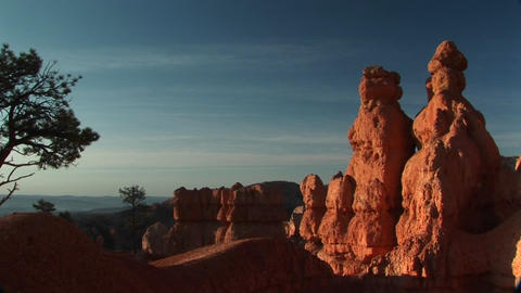 Pan-right shot of sandstone formations in Bryce Canyon National Park Footage