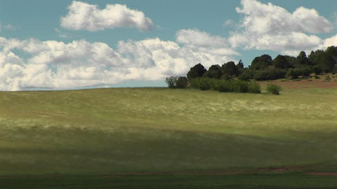 Long shot of wind blowing across grassy hills outside... Stock Video Footage
