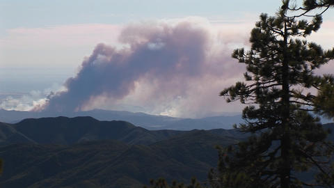 Long shot of smoke billowing from wildfires burning in... Stock Video Footage