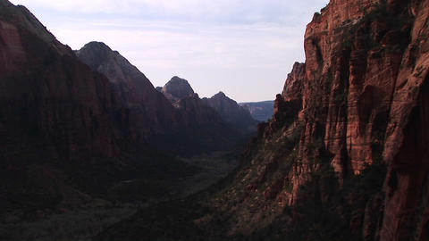 Medium-shot of Zion National Park from Angels Landing, Utah Stock Video Footage