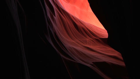 Medium-shot of a biomorphic rock formation in Antelope Canyon, Arizona Footage