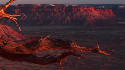 Medium-shot of the La Sal Mountains in Canyonlands National Park, Utah Footage