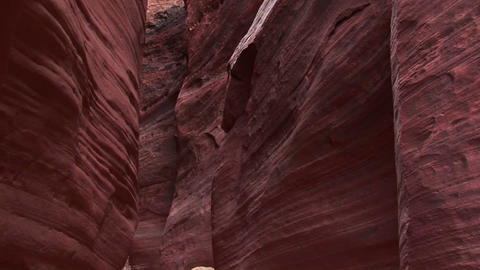 Pan-down of Buckskin Gulch in the Paria Canyon, Vermilion Cliffs Wilderness, Utah Footage