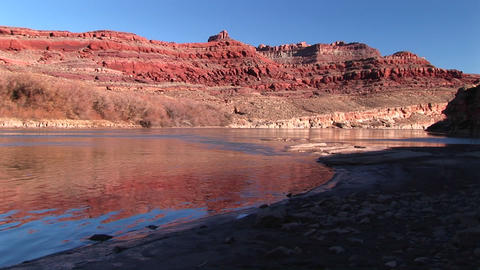 Medium-shot of the Colorado River meandering through Canyonlands National Park Footage