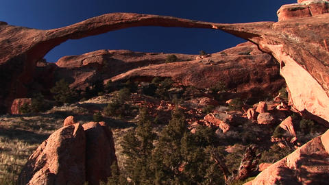 Medium-shot of the Landscape Arch in Arches National Park, Utah Footage