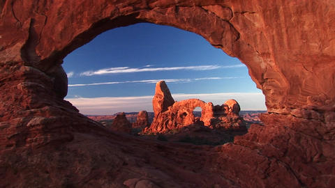 Medium-shot of Turret Arch through North Window, Arches... Stock Video Footage