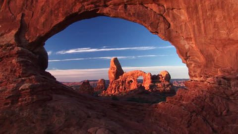 Medium-shot of Turret Arch through North Window, Arches National Park, Utah Footage