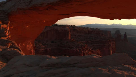Jib up of Mesa Arch in Canyonlands National Park, Utah Footage