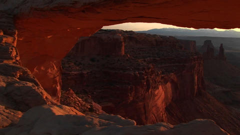 Jib up of Mesa Arch in Canyonlands National Park, Utah Stock Video Footage