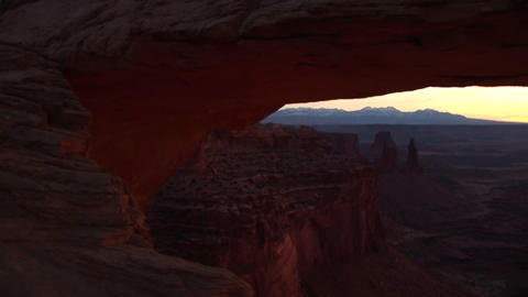 Jib down of Mesa Arch in Canyonlands National Park, Utah Stock Video Footage