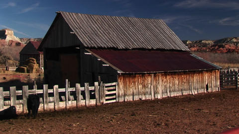 Jib up of a ranch barn in rural Utah Stock Video Footage