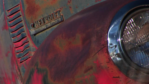 Close-up of front end of rusted old pickup truck Stock Video Footage