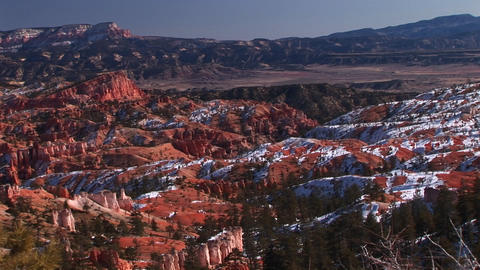 Panoramic static shot of limestone mazes created by rocks of the Claron Formation in Bryce Canyon N Footage