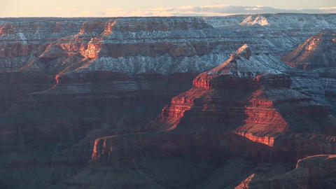 Wide shot of the South Rim of the Grand Canyon in winter Footage