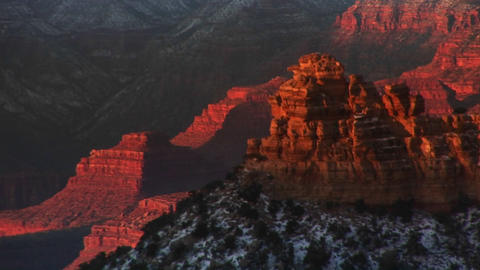 Medium shot looking down on interior of Grand Canyon... Stock Video Footage