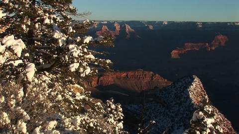 Long-shot of Grand Canyon National Park with winter snow... Stock Video Footage