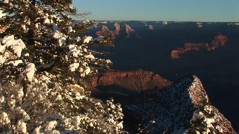 Long-shot of Grand Canyon National Park with winter snow covering trees and rocks in foreground Footage
