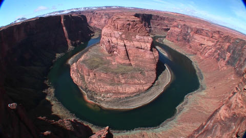 Fish-eye view of the Horseshoe of the Colorado River... Stock Video Footage