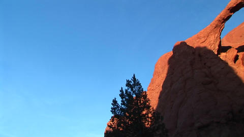 Pan-right of the Sandstone Arch in light and shadows in... Stock Video Footage