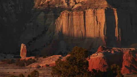 Medium shot of sandstone canyon walls in Kodachrome Basin in the Utah backcountry Footage