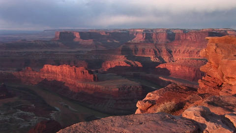 Wide shot vista over the Colorado River and its side canyons from Dead Horse Point State Park Utah Footage