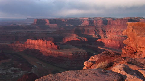 Wide shot vista over the Colorado River and its side... Stock Video Footage