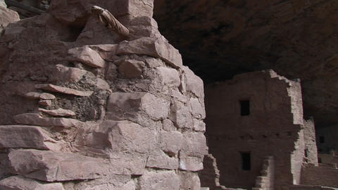Medium shot of the ruins of Native American cliff dwellings in Mesa Verde National Park Footage