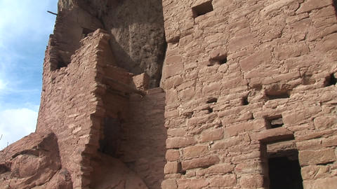 Medium shot of ruins of Native American cliff dwellings in Mesa Verde National Park, Colorado Footage