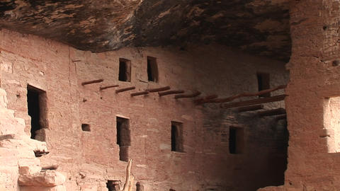 Medium-shot of ruins of Native American cliff dwellings in Mesa Verde National Park Footage