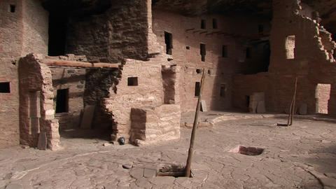 Medium-shot of the ruins of Native American cliff dwellings in Mesa Verde National Park Footage