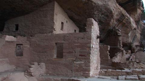 Medium-shot of the ruins of Native American cliff dwellings in Mesa Verde National Park, Colorado Footage