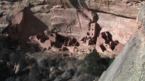Birds-eye of the ruins Native American cliff dwellings in Mesa Verde National Park, Colorado Footage