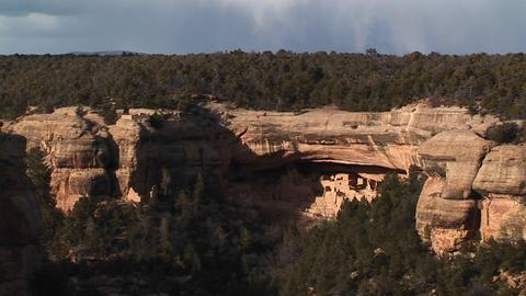Medium-shot of Native American cliff dwellings in Mesa... Stock Video Footage