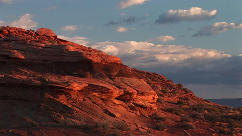 Medium-shot of sandstone cliffs near Lake Powell, Arizona Footage